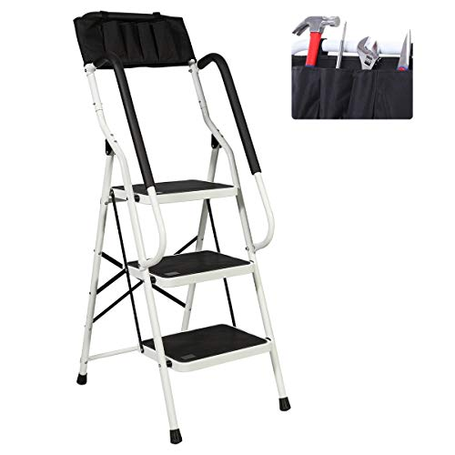 3 Step Ladder, Folding Safety Step Stool Ladder with Padded Side Handrails Wide Anti-Slip Pedal Sturdy Steel Ladder Attachable Tool Bag for Household and Office 500lbs Capacity (3 Step)