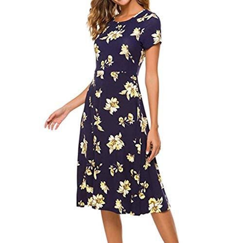 WUDUBE Sommerkleid Damen O-Ausschnitt Kurzarm Kleid Slim Freizeitkleid Mode Print Kleider
