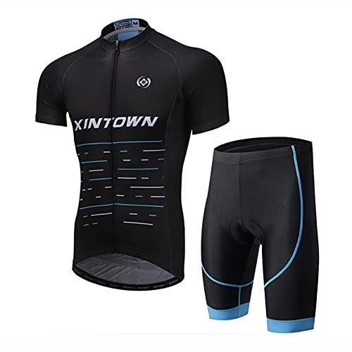 ZMMZZ Ropa de Ciclismo Conjunto de Maillot y Babero Camiseta de Bicicleta de Manga Corta + Shorts Acolchados de Gel,Style 5,XL