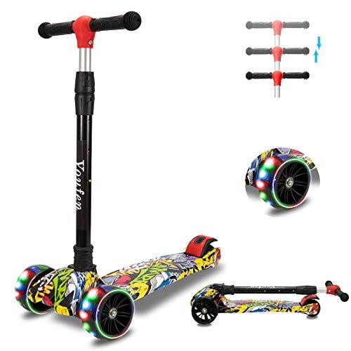 YouFen Kinder Roller Scooter - Kinderscooter für Mädchen und Jungen 2 Jahren, Premium Blinkenden LED Räder Kickscooter Dreiräder mit 3 Höhenverstellbare und Faltbar Lenker (Gelb)