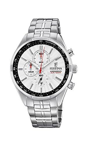 Festina Unisex Erwachsene Chronograph Quarz Uhr mit Edelstahl Armband F6863/2