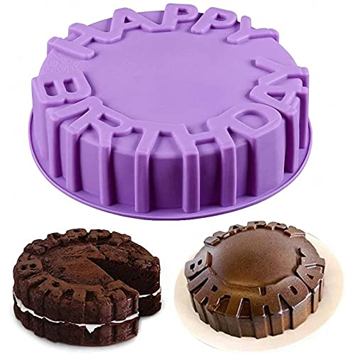 Molde redondo de silicona para tarta de feliz cumpleaños de 8 pulgadas para chocolate, postre, galleta, rosquilla, pan, pan, muffin, brownie, pan de maíz, tarta de queso y más (color aleatorio A)