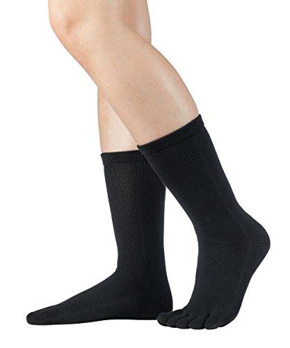 Knitido wadenlange Zehensocken aus Baumwolle Essentials, 9 Farben, Unisex, Größe:47-50, Farbe:schwarz (101)