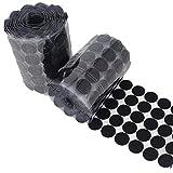 WEIYUE 100 pares de cintas autoadhesivas de cierre de 10/15/20/25 mm de velcro, adhesivo fuerte, adhesivo mágico para monedas redondas (color 10 mm, negro, 54 pares)