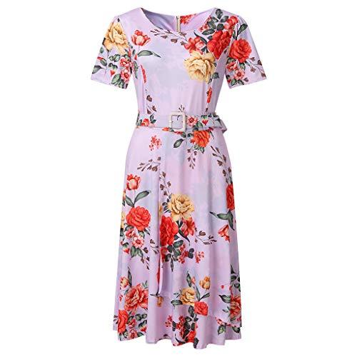 Sonojie Blumenmuster Damen Mädchen Frauen-Sommer-Art Feminino Vestido beiläufiges Plus Größen-Damen-Kleid Schwingen Pinup 2019