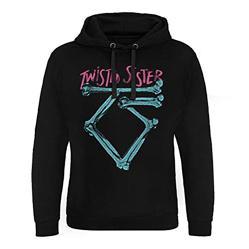 Officially Licensed Twisted Sister Washed Logo Epic Hoodie (Black), XXL