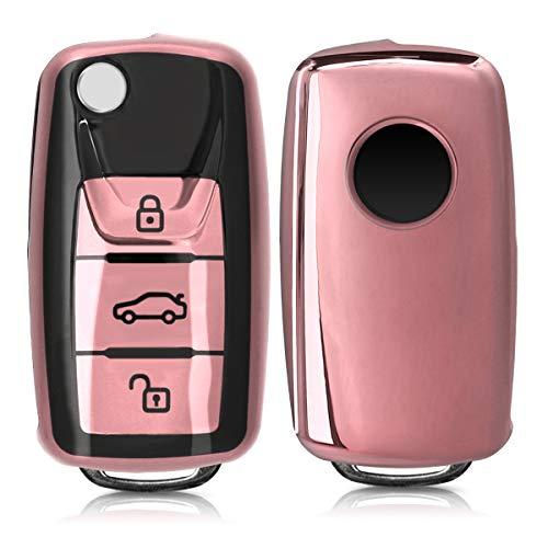 kwmobile Autoschlüssel Hülle kompatibel mit VW Skoda Seat 3-Tasten Autoschlüssel - TPU Schutzhülle Schlüsselhülle Cover in Hochglanz Rosegold Hochglanz Schwarz