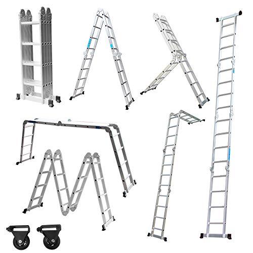 Aufun Alu Multifunktionsleiter 6 in 1 Leitergerüst 4 x 4 Sprossen Leiter Klappleiter Verstellbar Mehrzweckleiter, belastbar bis 150 kg, Vielzweckleiter mit 2 Gerüstplatten - 470 cm Gesamtlänge