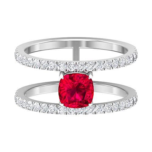 Anillo de doble banda, 1 quilate, 6 mm, anillo de rubí solitario, anillo de diamante HI-SI 0,66 quilates, anillo de piedra de nacimiento de julio, anillo de compromiso, 14K Oro blanco, Size:EU 56
