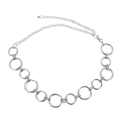 FASHIONGEN - Damen Gürtel Kettengürtel, Gürtelkette verstellbar ANNA - Silber, Einheitsgröße