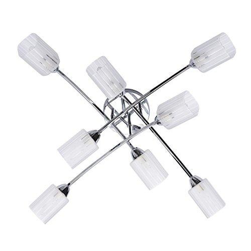 DeMarkt 638011808 Plafoniera Lampada da Soffitto Moderna Metallo Cromato Paralumi in Vetro Bianco Opaco 8 luci x 60W E14