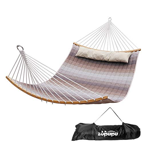 Zupapa Quilted Double Hammock, Detechable Curved Spread Bar Hammock Upgraded for Backyard Patio Use, 2 Person Hammock Portable Carry Bag Included