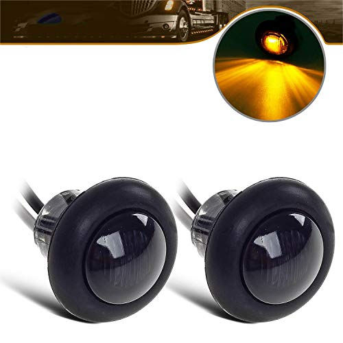 "2) 3/4"" Smoked Amber LED Clearance Marker Bullet Light / Rubber Grommet 1 LED For Truck Pickups FLush Mount"