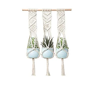 LANGUGU Macrame Plant Hanger with Wooden Dowel Three Tier Wall Hanging Planter Basket for Indoor Outdoor Flower Pot Plant Holder Wall Art Vintage-Inspired Home Boho Decor, Cotton Rope 4 Legs 41 inch