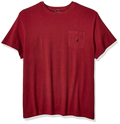 Nautica mens Solid Crew Neck Short Sleeve Pocket T-shirt T Shirt, Barolo, XX-Large Tall US