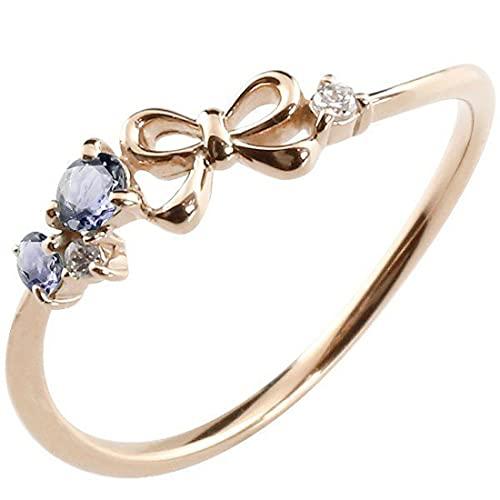 [アトラス]Atrus 指輪 レディース 10金 ピンクゴールドk10 アイオライト ダイヤモンド リボン ピンキーリング 華奢 重ね付け 宝石 20号