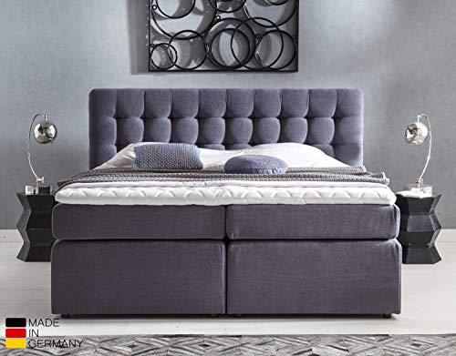 Furniture for Friends Möbelfreude® Premium Boxspringbett Perris | 180x200 cm Anthrazit Uni H2/H3 | mit hochwertigen Tonnen-Taschenfederkern Matratzen & Viskose-Topper | Made IN Germany