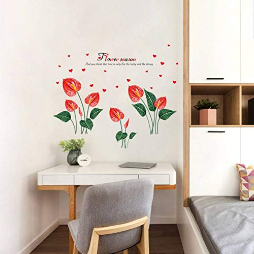 Gudojk muurstickers, antraciet, bloem, plant muurstickers, rood, liefde, patroon DIY woonkamer slaapkamer samen met bed tattoos muurkunst decoratie voor thuis