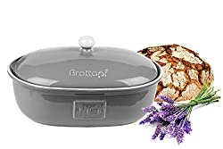 BigDean Brottopf Toskana Grau Brotkasten Oval mit Belüftung aus Steingut Brotkorb 36,5 x 25,5 x 19 cm