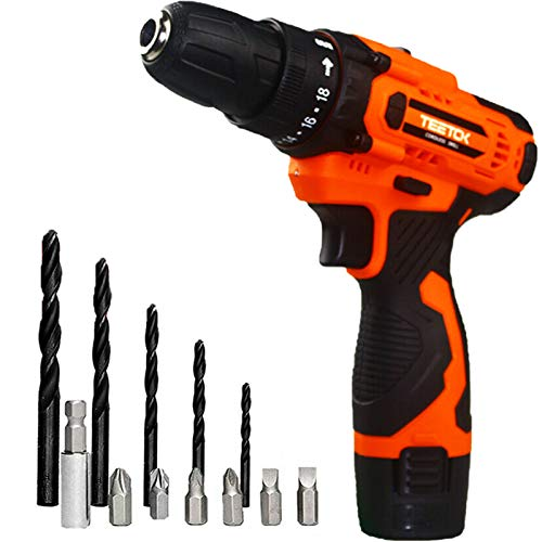 TEETOK 12V Compact Cordless Drill Driver Set Combi Lithium Ion Screwdriver LED Light Quick Change Battery 1500mAh