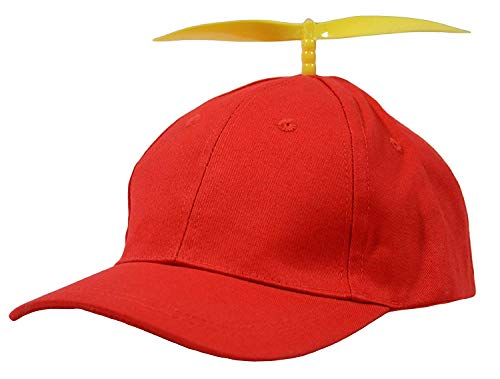 Jewelia's Closet Tweedle Dee Tweedle Dum Costume Hats for Boys, Girls, Women and Men, Propeller Hat for Kids 3-8 Years Red