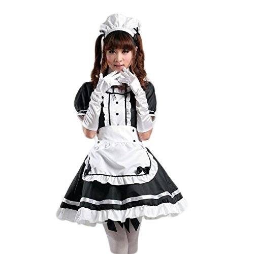 Sheface Women's Anime Cosplay French Apron Maid Fancy Dress Costume (Small, Black/White)