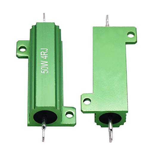 Twidec/2Pcs 50W 4 Ohm 5% Aluminum Hosed Resistor Screw Tap Chassis Mounted Wirewound Resistors for Power Supply Equipment Green RX24-50W4RJ