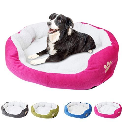 huangyung Round plush dog bed house dog mat warm winter sleeping cat litter soft plush dog basket pet mat portable pet supplies