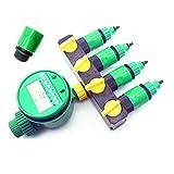 PPLAW 1 Set (7 PCS) Home Jardín Irrigación de riego Temporizador Temporizador Splitter 4 Way Conectores Tapón Conector rápido 3/4 Tornillo Interfaz de Rosca