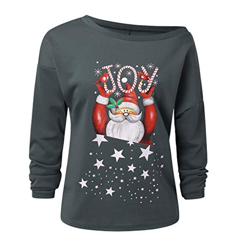 Affordable WatFY Christmas Blouse Women's Off Shoulder Tops Loose Oversized Casual T-Shirt Santa Cla...