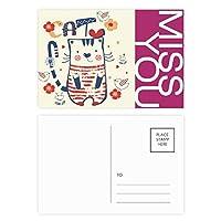 漫画のかわいい猫の鳥の花のスケッチ ポストカードセットサンクスカード郵送側20個ミス