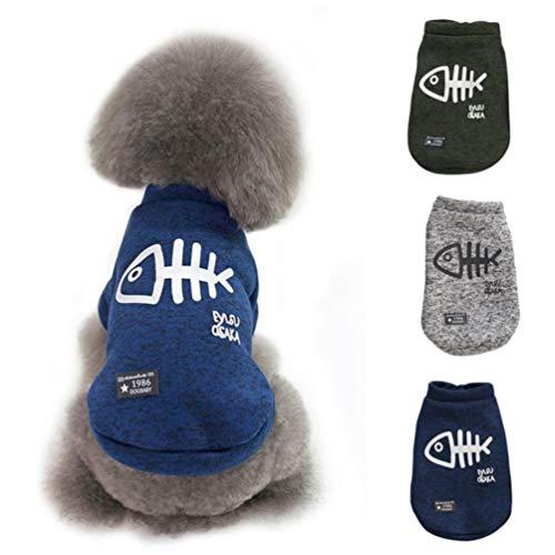 POPETPOP - Ropa cálida para perros y gatos, jersey de invierno para perros, chaleco para perros de talla pequeña, color azul