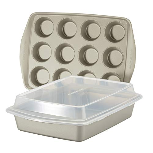 Rachael Ray Nonstick Bakeware Set without Grips includes Nonstick Baking Pan