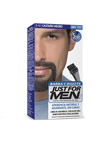 Just For Men Tinte Colorante En Gel Para Barba Y Bigote, Cubre Las Canas, Castaño Negro (B-50), 28.4 g