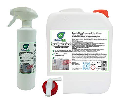 KaiserRein Bio Duschkabinenreiniger mit Lotuseffekt/Abperleffekt Set 5 L Kanister +und Sprayflasche Leer 0,5L + Auslasshahn ohne nachwischen streifen freies abtrocknen