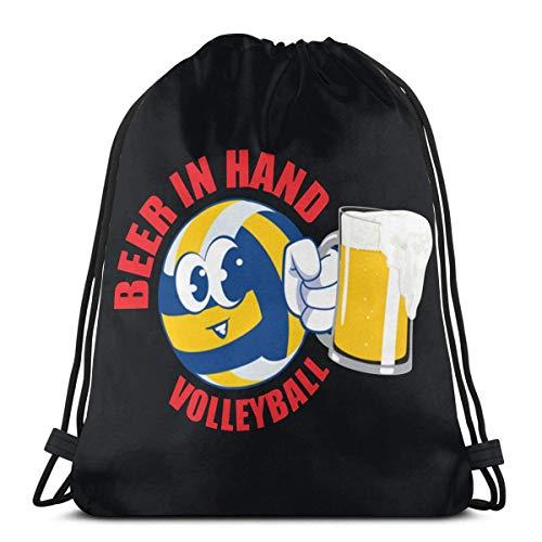 Volleyball mit Bier Kordelzug Rucksack Rucksack Umhängetaschen Gym Bag