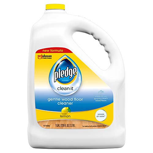Pledge Wood Floor Cleaner Liquid, Shines Hardwood, Removes Dirt, Safe and Gentle, Lemon, 1 Gallon