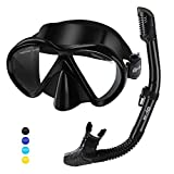 Glymnis Gafas de Buceo Gafas Snorkel Kit de Snorkel Máscara de Buceo de Silicona y Snorkel Seco Set Máscara Set de Snorkel Profesional para Adultos y Jóvenes Hombre y Mujer Nergo