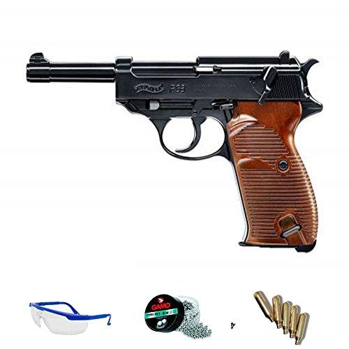 PACK pistola de aire comprimido Umarex Walther P38 - Arma de CO2 y balines BBs (perdigones de acero) <3,5J