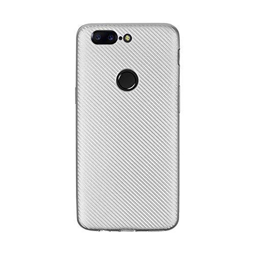 JEEXIA® Hülle Für Lenovo K5 Plus, Stoßfestes Etui aus Rutschfestem Weiches Silikon TPU Case Kratzfeste Kohlefaser Schutzhülle - Silber