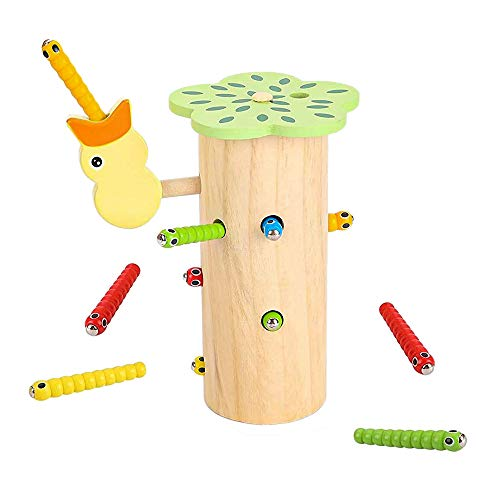 Pulchram Specht Raupen Fangen Spiel,Montessori Spielzeug,Fangen Spiel Magnetischer Specht Raupen,Lernspielzeug...