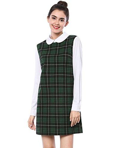 Allegra K Damen Langarm Panel Bubikragen Karo Minikleid Kleid Grün S
