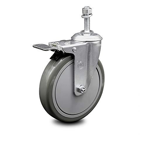 "Polyurethane Swivel Threaded Stem Caster w/6"" x 1.25"" Gray Wheel and 3/8"" Stem & Total Locking Brake - 300 lbs Capacity/Caster - Service Caster Brand"