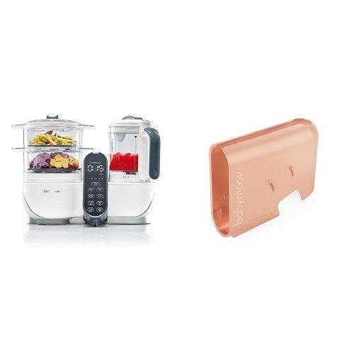 Babymoov Nutribaby+ A001117 - Procesador de alimentos para bebés, cocción al vapor y batidora, color blanco + Babymoov Nutribaby A001121 - Cubierta, color cobre