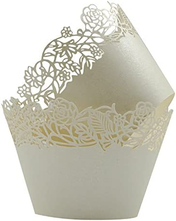 Cupcake Wrappers Pack of 50 Beige Filigree Artistic Bake Cake Paper Cups Little Vine Lace Laser product image
