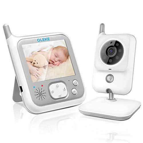 OLEKE Baby Monitor Videocamera con schermo da 3.2 '' Funzione di VOX Visione Notturna Audio Bidirezionale 8 ninne nanne Telecamera di Sorveglianza per bambino Sensore di Temperatura