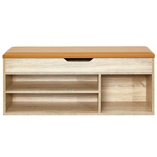 *Meerveil Schuhbank aus E1 Holzspanplatte, Aufklappbare Schuhschrank mit Sitzkissen, Flur Schuhregal 104 x 45 x 30 cm (Natur)*