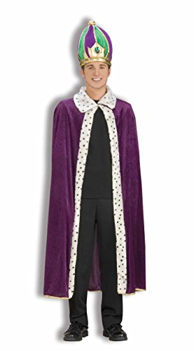 Forum Mardi Gras King Robe and Crown Set, Purple/Green/Gold, Adult