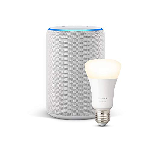 Echo Plus (2ª generazione) - Tessuto grigio chiaro + Philips Hue White Lampadina