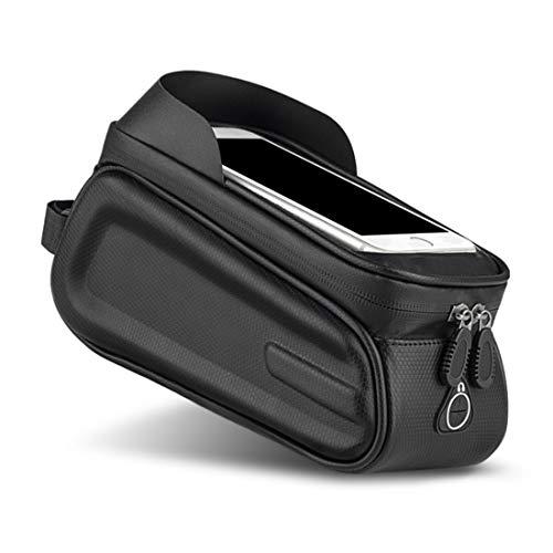 HJSW Bolsa Bicicleta Montaña Cuadro Impermeable, Soporte Manillar Móvil Bicicletas Accesorios Mochila Bicletas Frame Bag para iPhone 12/11/Max/Mini/Pro/XS Max/XR/X/7/8 Plus, 4.0''~6.5'' Teléfono